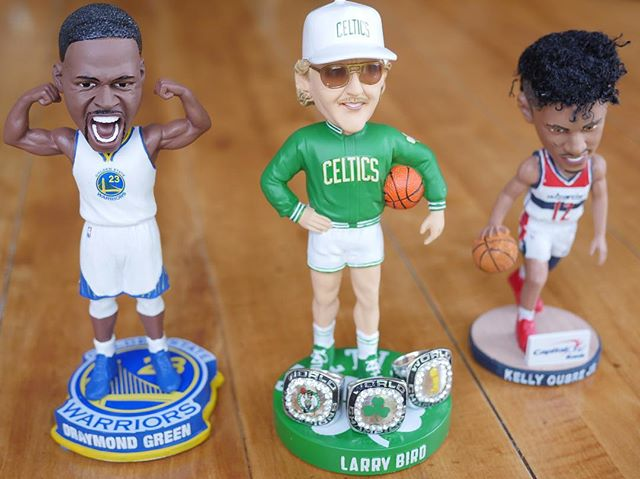 A few bobbleheads I purchased on eBay for my new basketball-themed man cave! #nba #larrybird #draymondgreen #kellyoubrejr #bobblehead