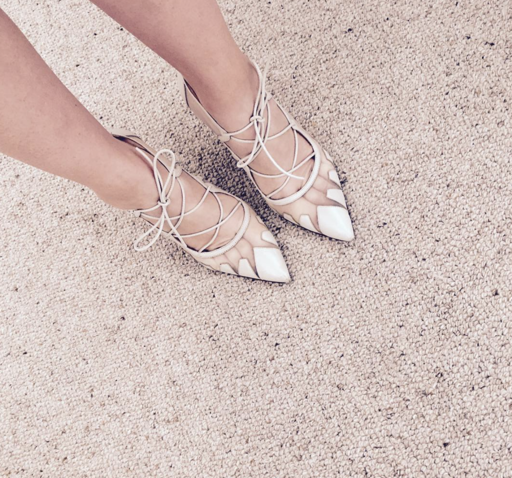 @ sarahmcurnow   Cream strappy-tie up pumps kinda day.  #biondacastana