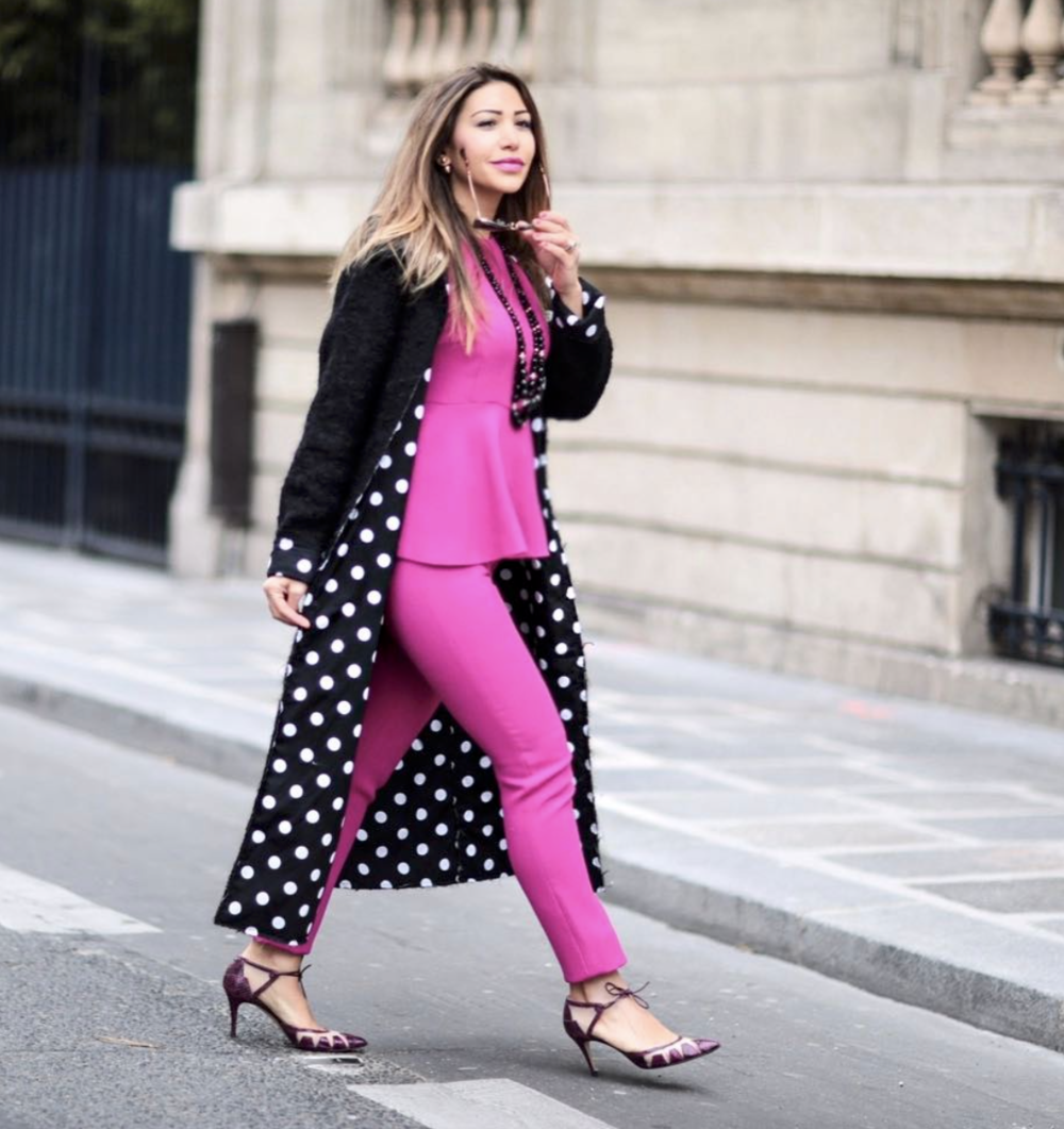 @ mayawilliamz   Full look by  @nataliakaut . Photo by:  @edwardspict    #FashionLollipop   #HotPink   #NataliaKaut  #PolkadotCoat   #styleinspo   #BiondaCastana