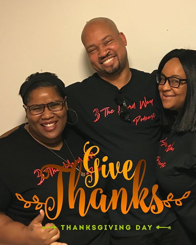 #happythanksgiving from your favorites and don't forget to check out our most recent episode . #podsincolor #ridethewave #3THWP #podcast