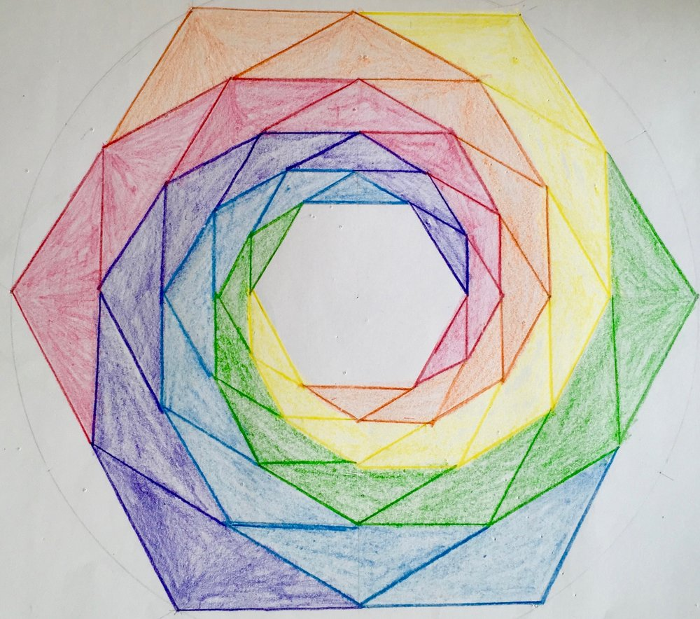 Fractal hexagons...students experience the beauty of geometry as they learn to construct complex forms using compass, straight edge, and protractor