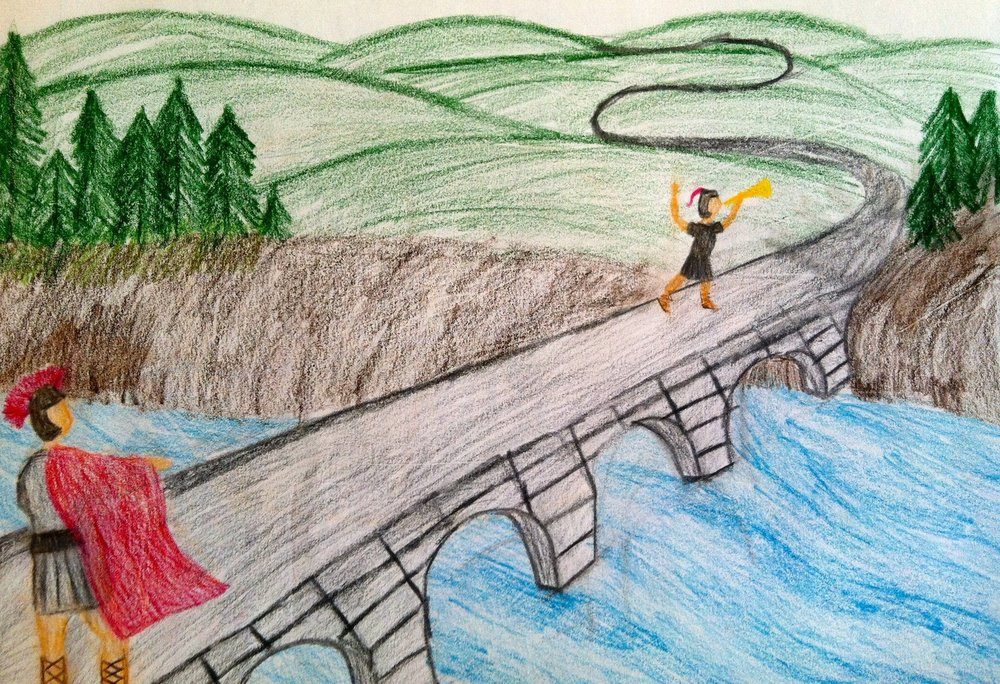 A beautiful lesson book illustration from a thematic lesson block on Roman History