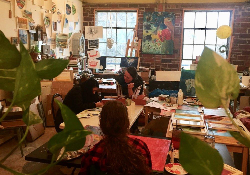 Aeon students enjoying an internship at the River Arts District studio of Elizabeth Porritt-Carrington
