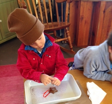 Crafting gingerbread stars during handwork- a time of focus, or 'in-breath'.