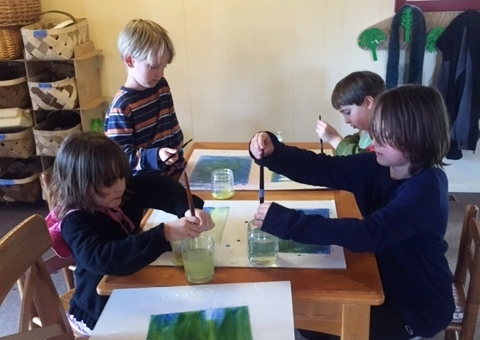 Watercolor painting brings forth the childrens' innate sense of color while developing fine motor skills