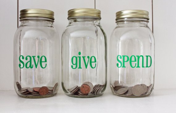 Save, Give, Spend Jars. Image: Etsy Shop  LittleAcornsByRo