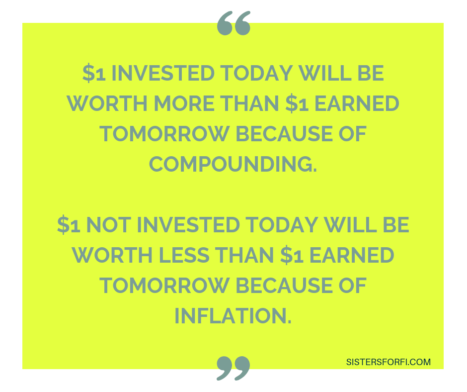 $1 invested today will be worth than $1 earned tomorrow because of compounding.