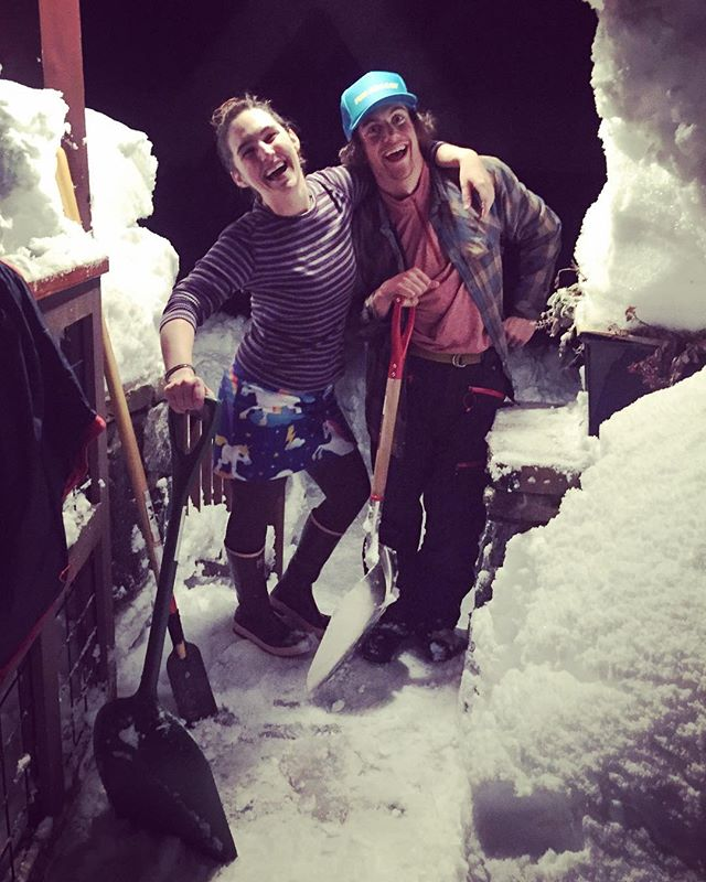 Shoveling party with these two FunHogs!!! @tessagreer @arcamski #funhoggin #funhogginfleecewear #skiingskirt #powderday #fleececlothing #bestdayever #fleeceskirt #madeinidaho #madeinmccall #handmade