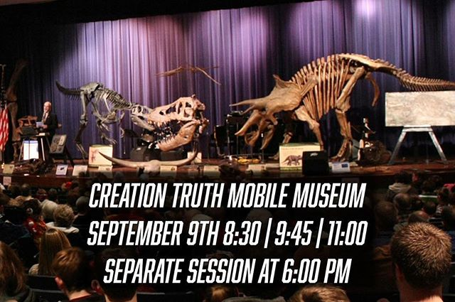 Join us this Sunday to see dinosaur displays and hear about their place in history. We will have identical morning sessions at 8:30, 9:45, and 11:00 in the auditorium at Highland Church of Christ. We will also have one separate session at 6:00 PM in the same place! Come see all the prehistoric displays set up in the lobby and on stage at the event! All ages welcome. •  #hccrobinson #creationtruthmobilemuseum #dinosaurs #creation #wereach