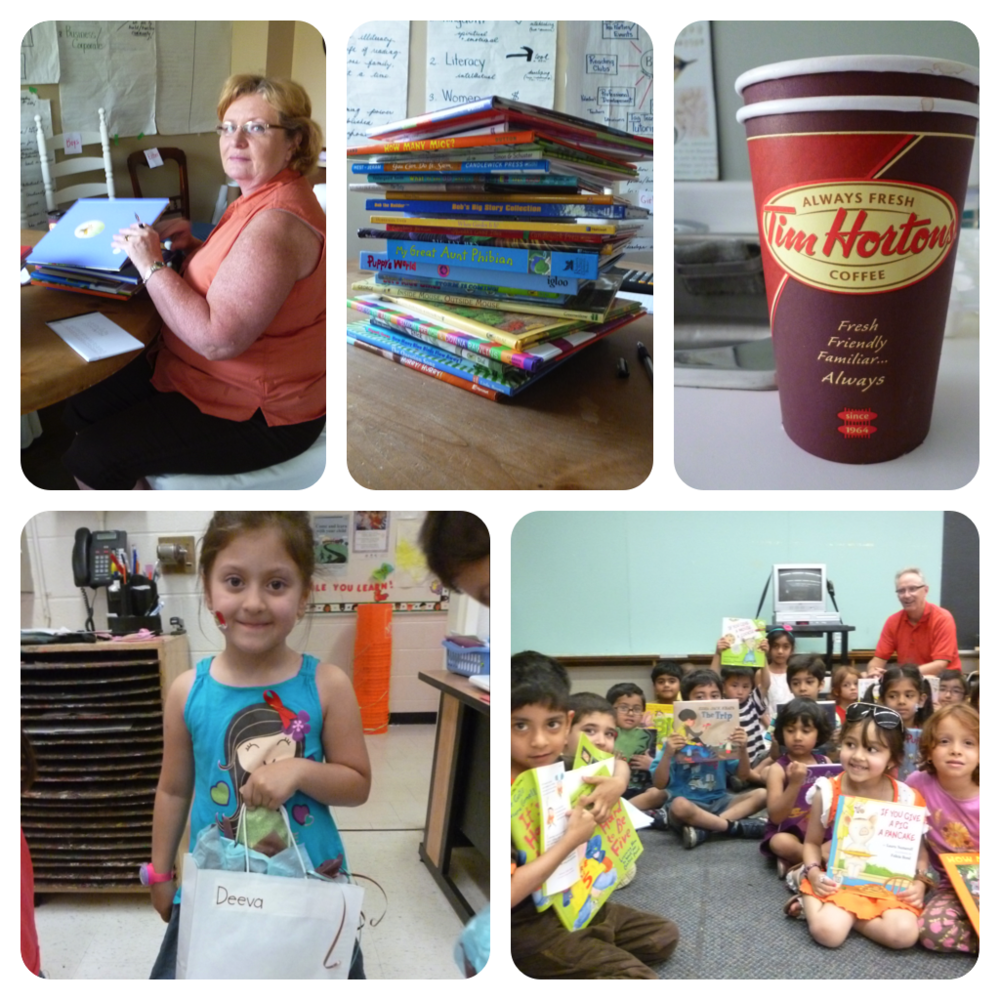 Our Administrative Assistant Sandy spent hours with us sorting, stickering and wrapping the books for the Kindergarten classes (sustained by Tim's and chocolate!). The children were SO excited to get their books.