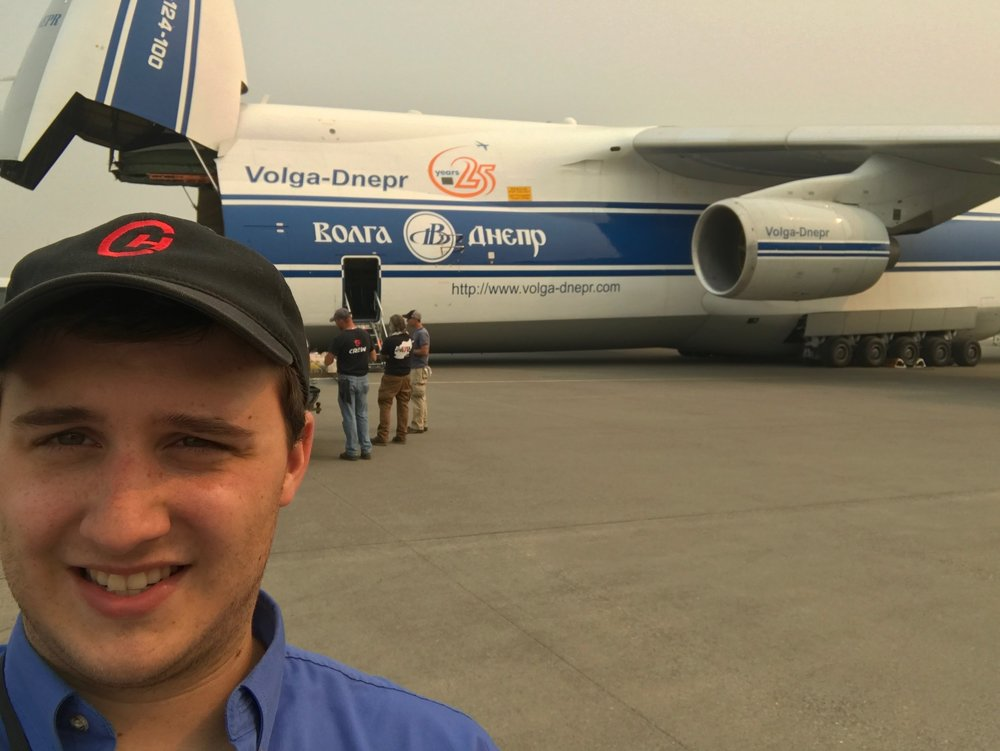 I used to work for an aviation company. Behind me is the 2nd largest plane in the world. You may have seen it in Fast & Furious 6.