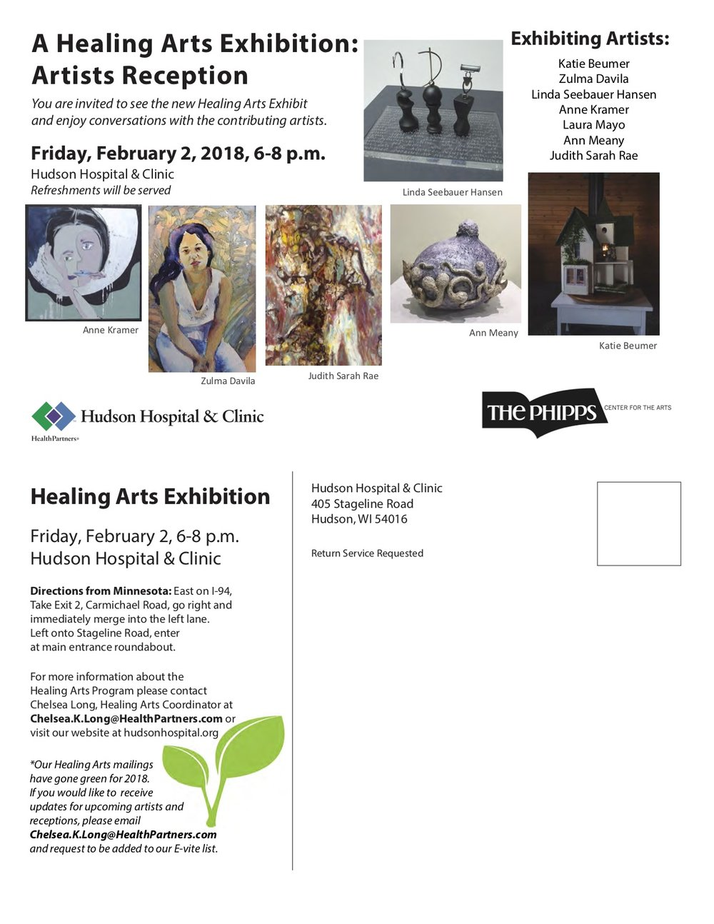 Group Exhibition - November 8, 2017 – February 4, 2018Hudson Hospital & Clinic, Hudson, WI