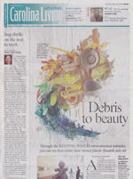 "2014 The Charlotte Observer Samantha Sabin Barbara Shreiner ""...for many artists, plastic debris is not just a material; it also carries a message about how much we consume and throw away, to the peril of ourselves and our planet."""