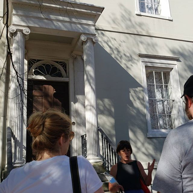Our teachers institute took to the streets of Richmond this morning exploring people's lives during the Civil War. #acwmti Stops included Court End, Richmond Female Institute, Washington's statue at Capitol Square, Main Street, the Reconciliation Statue, Lumpkin's Jail, and the Egyptian Building at MCV.