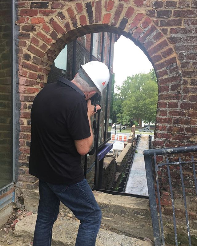 """Photographer Michel Arnaud stopped by for a morning shoot for his new book, """"Cool Is Everywhere."""" It's a visual portfolio of 14 small to mid-size cities that are revitalizing. We're thrilled to be included in his coverage of RVA. Look for the book next fall. #architecturerva #historictredegar #oldandnew #historyisalive #civilwar"""