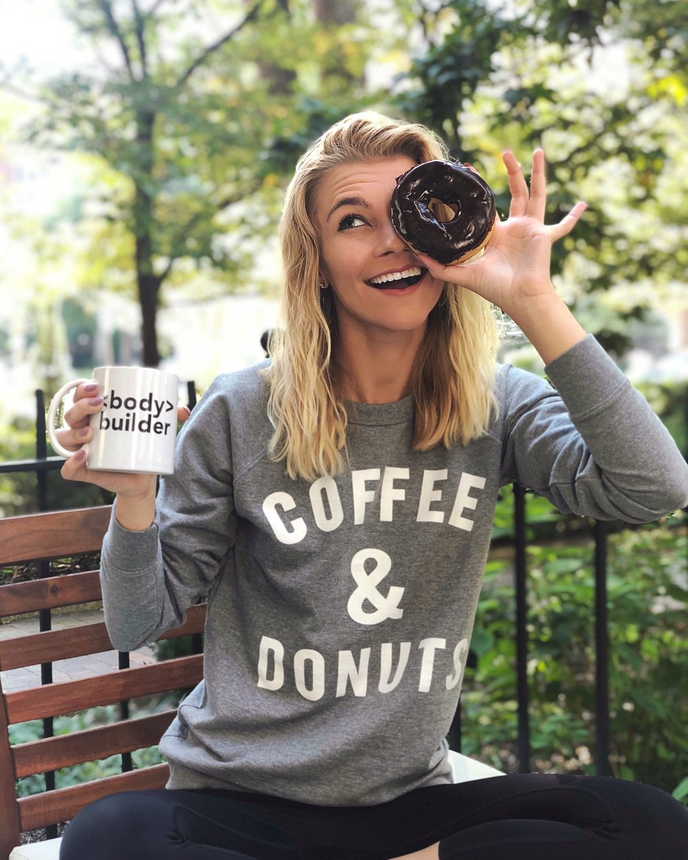 My favorite breakfast combination ☕️🍩 Thank you @lookhuman for this too-real sweatshirt, just in time for fall 🍂🍂🍂 #lookhuman #ad #womenwhocode   -