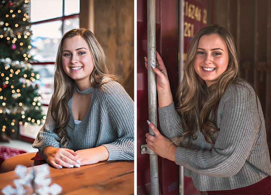 It was the start of the holiday season when we did Jordan's senior session, so of course we had to incorporate the beautiful tree at DCBC in at least a pose or two. And I am in love with the old train doors that lead to the bathroom.