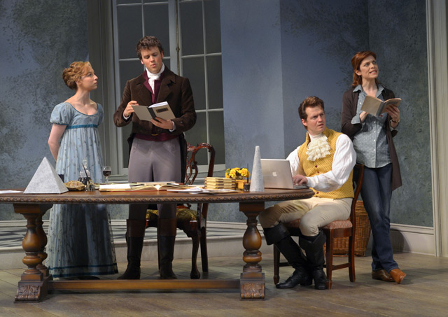 From left: Rebekah Brockman, Jack Cutmore-Scott, Adam O'Byrne, and Gretchen Egolf in A.C.T.'s production of Tom Stoppard's Arcadia. Photo: Kevin Berne