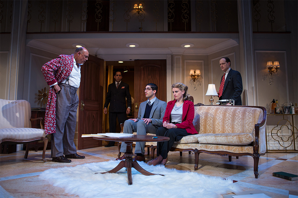 Harry Brock (Michael Torres) and Eddie Brock (Gabriel Montoya) threaten Billie Dawn (Millie Brooks) and Paul (Jason Kapoor) as Ed (Anthony Fusco) looks on in SF Playhouse's production of 'Born Yesterday.' Photo by Jessica Palopoli