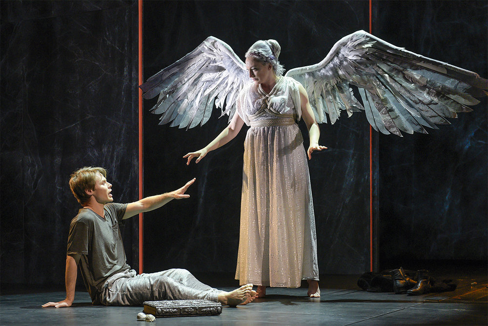 (l to r) Randy Harrison (Prior Walter) and Francesca Faridany (The Angel) in Berkeley Repertory Theatre's production of  Angels in America, Part Two: Perestroika . Photo by Kevin Berne