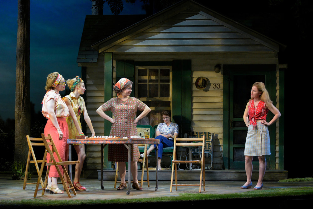 Part of the ensemble of 'Walk on the Moon' at ACT. (Left to right) Bunny ( Molly Hager ), Rhoda ( Monique Hafen ), Eleanor ( Ariela Morgenstern ), and Pearl ( Katie Brayben ) , with Pearl's mother-in-law Lillian (Kerry O'Malley) in the background. Photo: Alessandra Mello