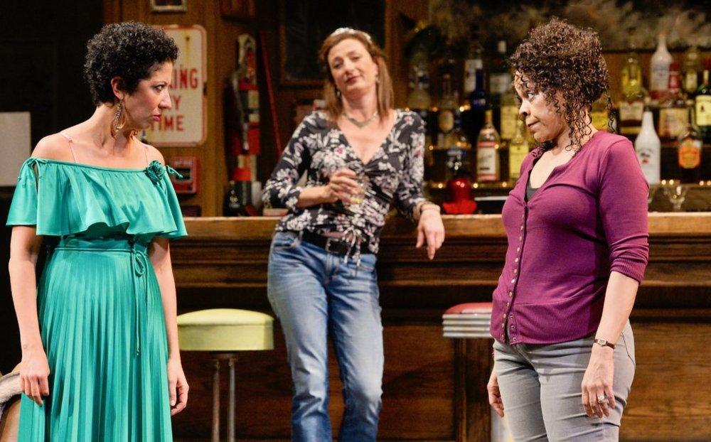 Sarah Nina Hayon, Lise Bruneau, and Tonye Patano in 'Sweat.'