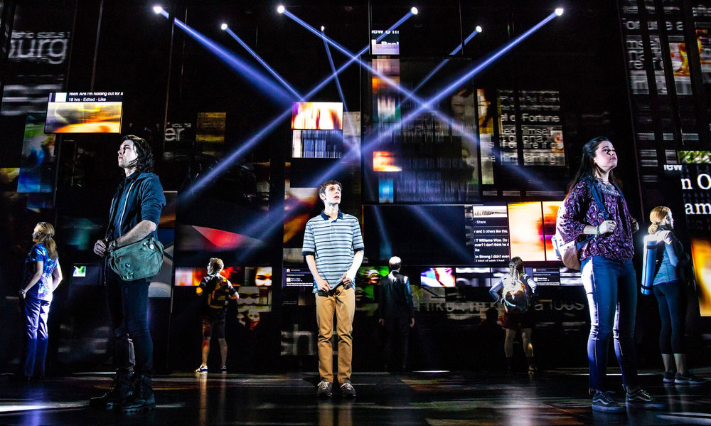 Ben Levi Ross as 'Evan Hansen' and the Company of the First North American Tour of Dear Evan Hansen. Photo by Matthew Murphy
