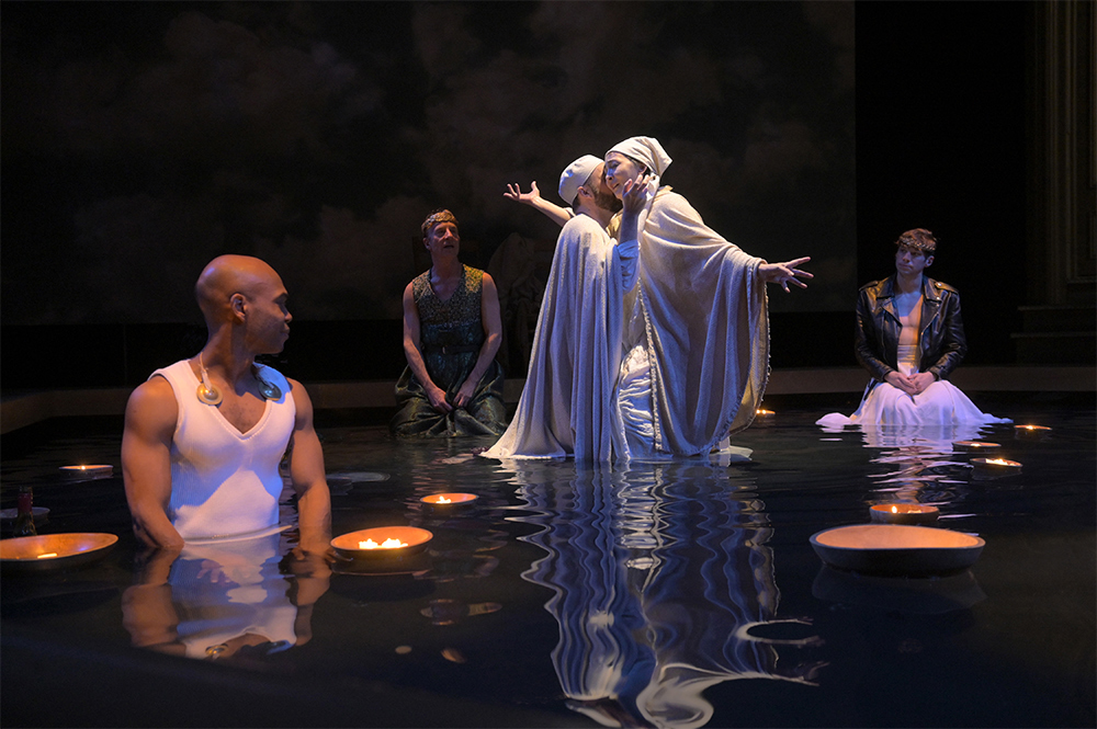 (l to r) Rodney Gardiner, Steven Epp, Alex Moggridge, Lisa Tejero, and Benjamin T. Ismail in Metamorphoses at Berkeley Rep. Photo by Kevin Berne