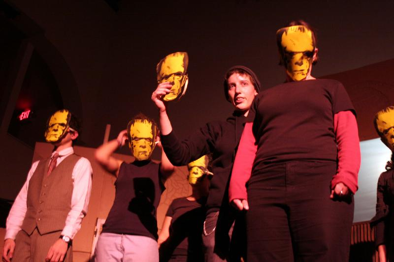 """The Frankenstein of Everyday Life"" performative lecture at the Black Sheep Festival, Pittsburgh, 2006"