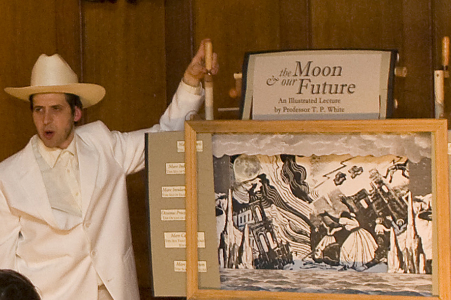 """The Moon and Our Future"" performative lecture at Rutherfurd Hall, 2012"