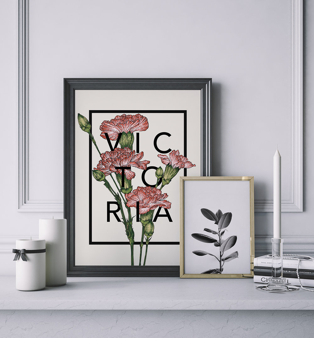 Carnations Botanical Flower Print by The Print Florist - £20