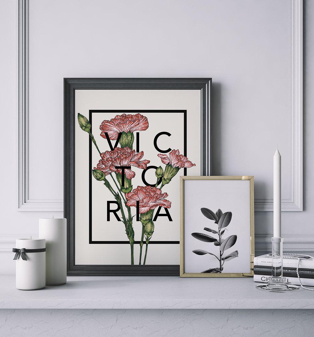Carnations Botanical Flower Print by The Print Florist - £20