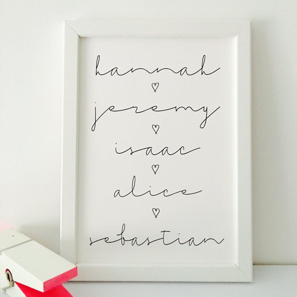 Family names print by MOMO&BOO - £20