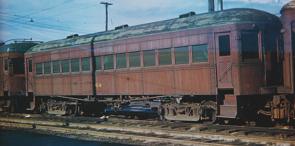 "Baltimore & Annapolis Car #64 at Bladen Street Station. Annapolis, Maryland Date: 1947. Source: Frank Watson Collection, ""Baltimore-Washington Trolleys, In Color"" by LeRoy O. King Jr."
