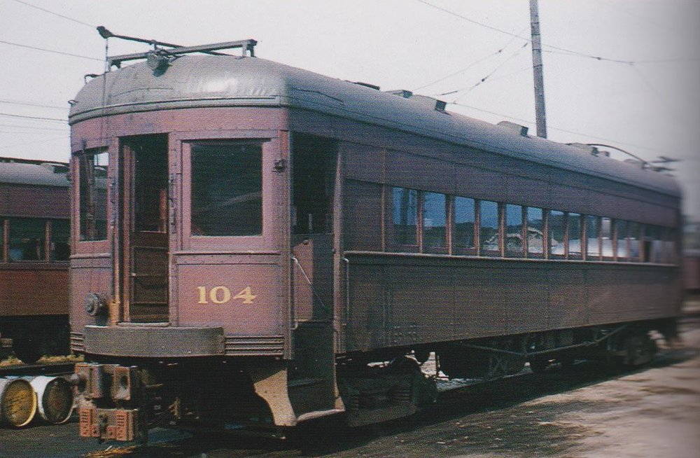 "Baltimore & Annapolis Car #104 at Bladen Street Station. Annapolis, Maryland Date: September 4, 1948. Source: Lawson Hill, Boston Chapter, NRHS Collection, ""Baltimore-Washington Trolleys, In Color"" by LeRoy O. King Jr."