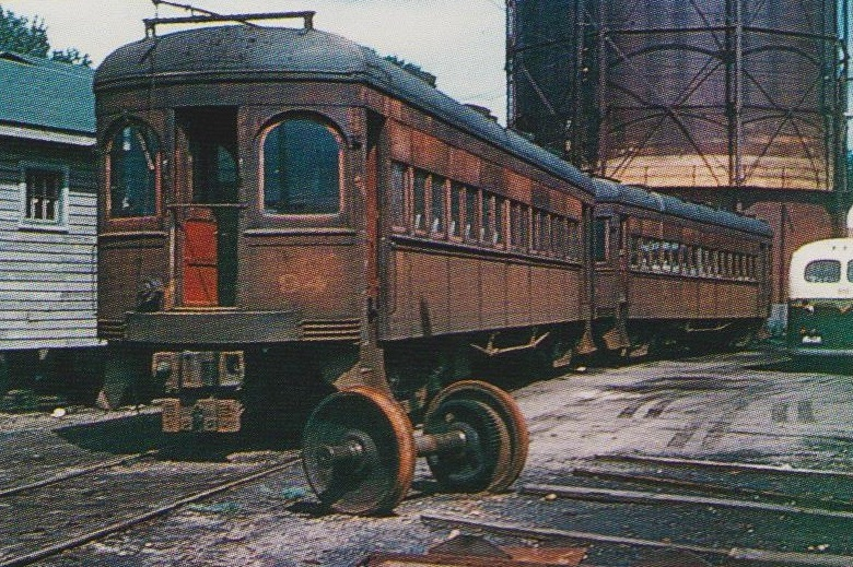 "Baltimore & Annapolis Car #94 & #96 at Bladen Street Station. Annapolis, Maryland Date: June 19, 1949. Source: LeRoy O. King, Jr. Collection, ""Baltimore-Washington Trolleys, In Color"" by LeRoy O. King Jr."