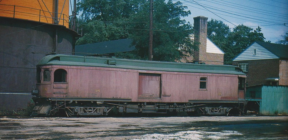 "Baltimore & Annapolis Car #18 at Bladen Street Station. Annapolis, Maryland Date: September 4, 1948. Source: David H. Cope Collection, ""Baltimore-Washington Trolleys, In Color"" by LeRoy O. King Jr."