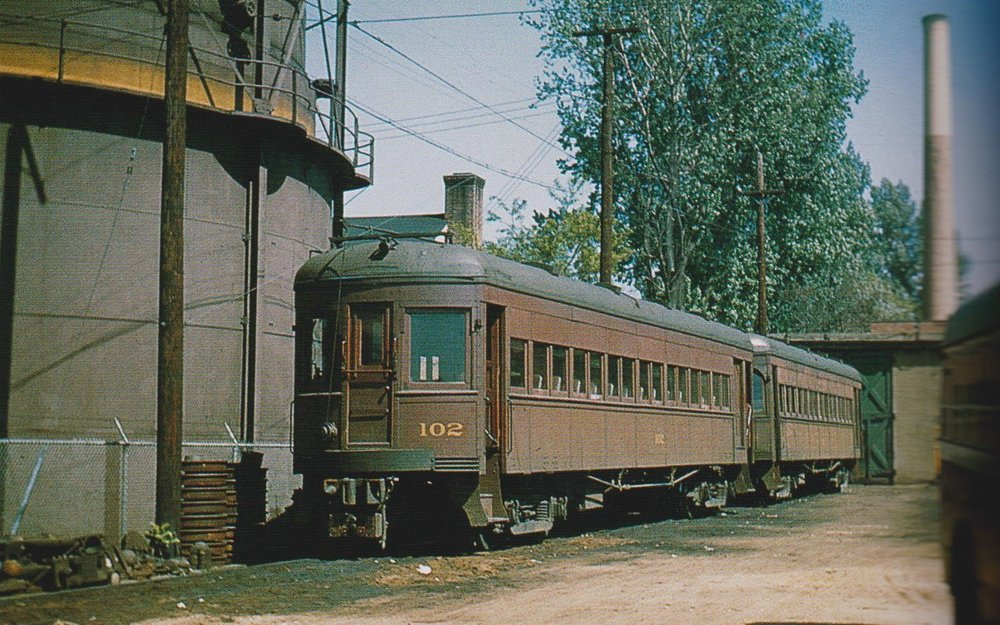 "Baltimore & Annapolis Car #102 at Bladen Street Station. Annapolis, Maryland Date: May 11,1947. Source: LeRoy O. King, Jr. Collection, ""Baltimore-Washington Trolleys, In Color"" by LeRoy O. King Jr."