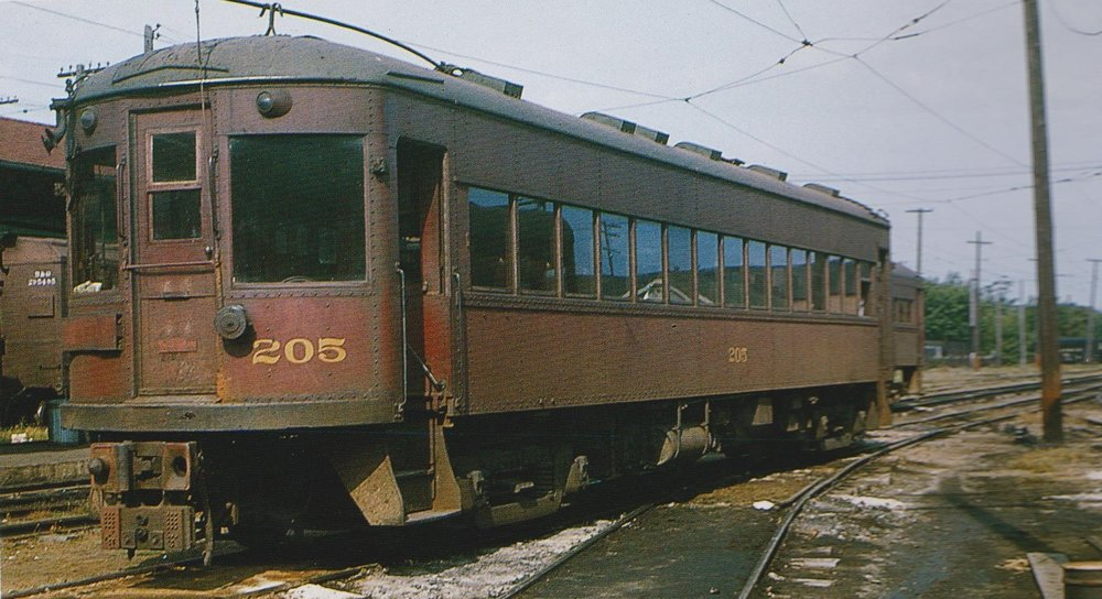 "Baltimore & Annapolis Railroad Car #205 at Bladen Street Station. Annapolis, Maryland Date: September 4,1948. Source: Lawson Hill, Boston Chapter, NRHS Collection. ""Baltimore-Washington Trolleys, In Color"" by LeRoy O. King Jr."