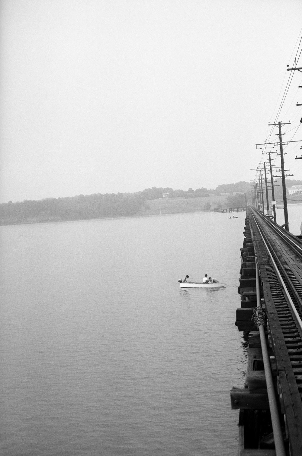 Baltimore & Annapolis Railroad Car crossing the Severn River Bridge. Looking towards the North Shore, Manresa can be seen to the right. Annapolis, Maryland. Circa 1940's. Source: Hugh Hayes Collection.