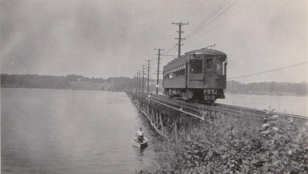 Baltimore & Annapolis Railroad Car crosses the Severn River Bridge heading South towards Annapolis. Annapolis, Maryland Date: 1949. Source: Hugh Hayes Collection.