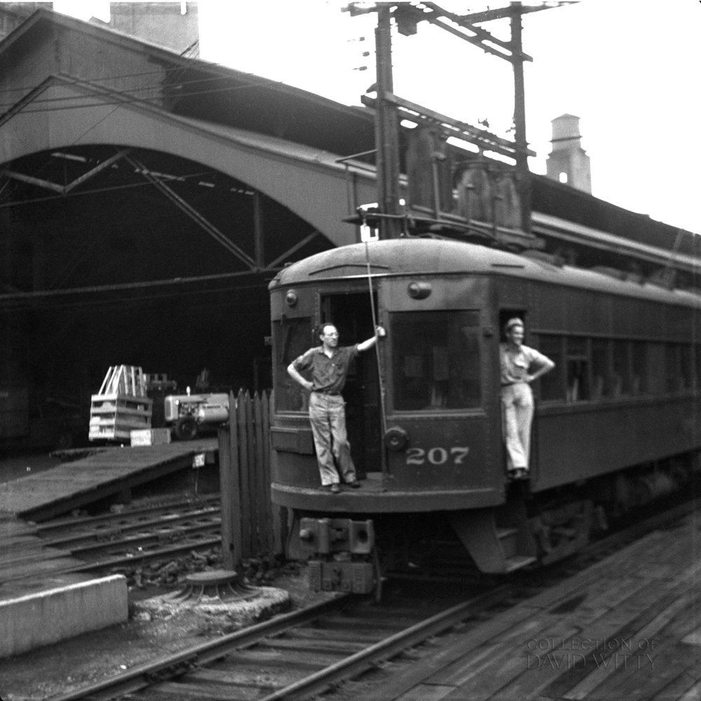 Baltimore & Annapolis Railroad Car #207 at Camden Station. Baltimore, Maryland. Date: 1947. Source: David Witty Collection, Walter Hulseweder Photograph.