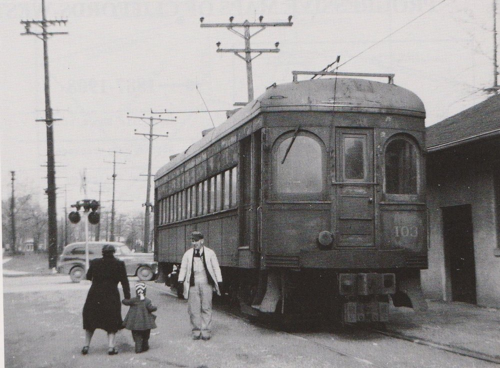 "Baltimore & Annapolis Car #103 at Glen Burnie Station the day before the line was abandoned. Glen Burnie, Maryland Date: February 4, 1950. Source: R.W. Janssen from ""Baltimore Light Rail, Then & Now"" by Herbert H. Harwood Jr."
