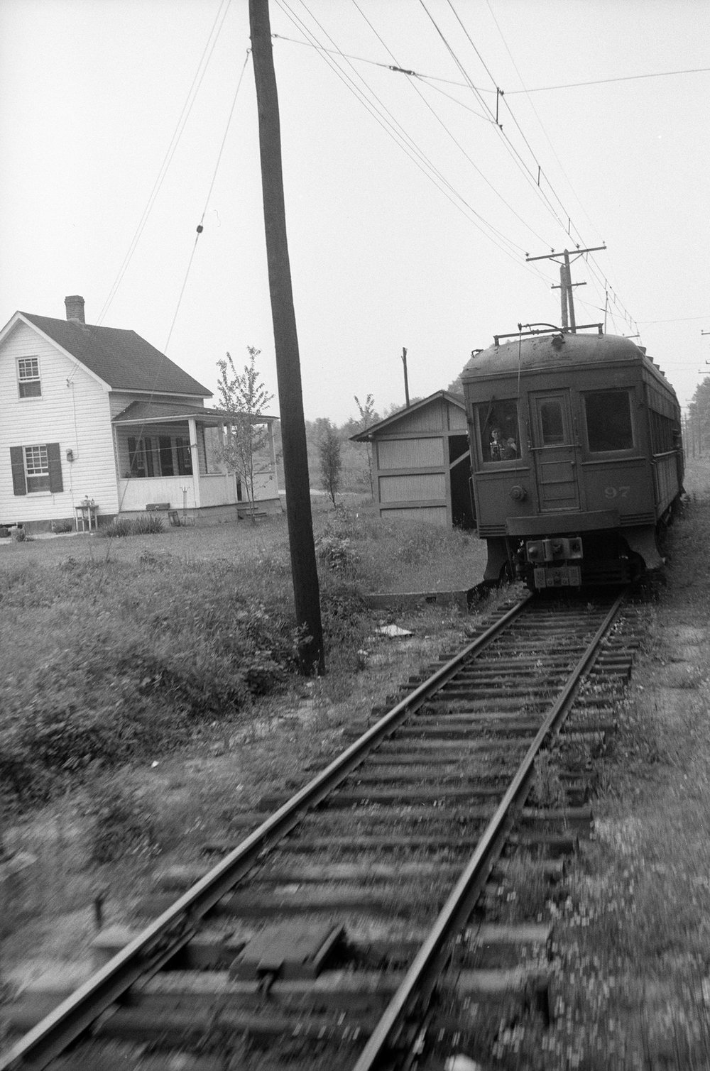 Baltimore & Annapolis Railroad Car #97 passing Marley Station. Maryland Circa 1940's. Source: Hugh Hayes Collection.