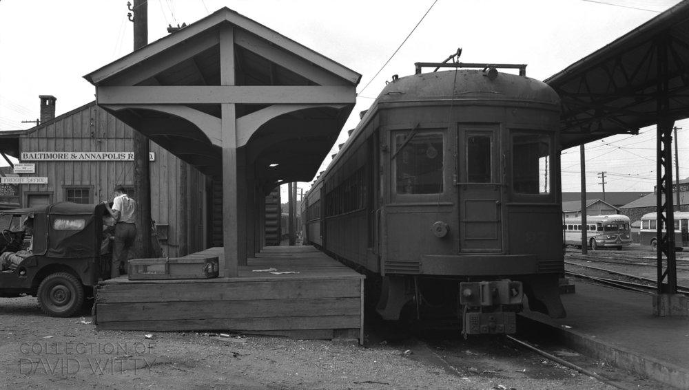 Baltimore & Annapolis Railroad Car #97 at Bladen Street Station. Annapolis, Maryland. Date: September 1949. Source: David Witty Collection.