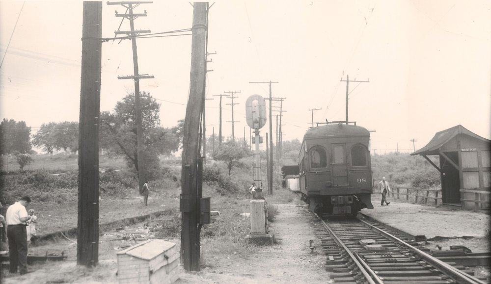 Baltimore & Annapolis Railroad Car #98 at Westport Station. Westport Station, Maryland Date: June 19, 1949. Source: Kevin Mueller Collection.