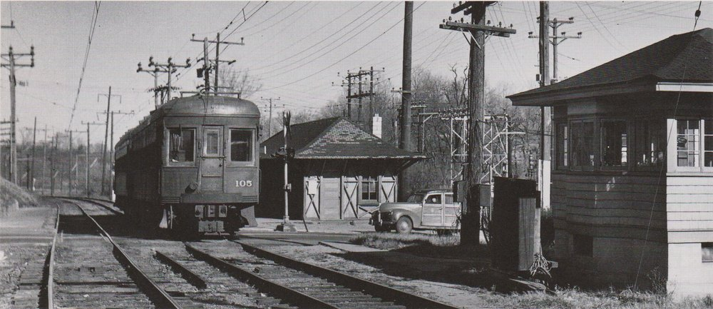 "Baltimore & Annapolis Car #105 at Linthicum Station. Linthicum, Maryland Date: November 1949. Source: W.D. Middleton from ""Baltimore Light Rail, Then & Now"" by Herbert H. Harwood Jr."
