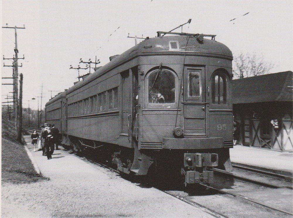 "Baltimore & Annapolis Car #95 at Linthicum Station. Linthicum, Maryland Date: 1946. Source: W.D. Middleton from ""Baltimore Light Rail, Then & Now"" by Herbert H. Harwood Jr."