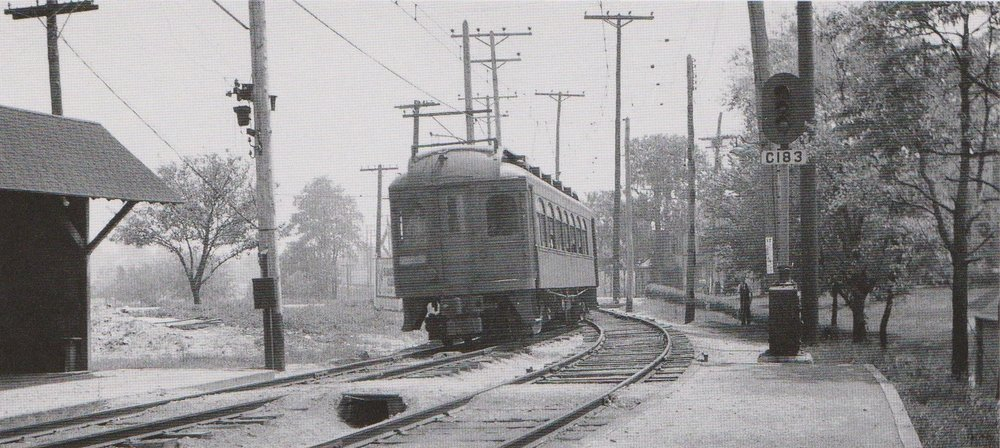 "Baltimore & Annapolis Car #92 approaches Shipley Station heading North. Shipley Station, Maryland Date: May 1936. Source: J.P. Shuman Photo. from ""Baltimore Light Rail, Then & Now"" by Herbert H. Harwood Jr."