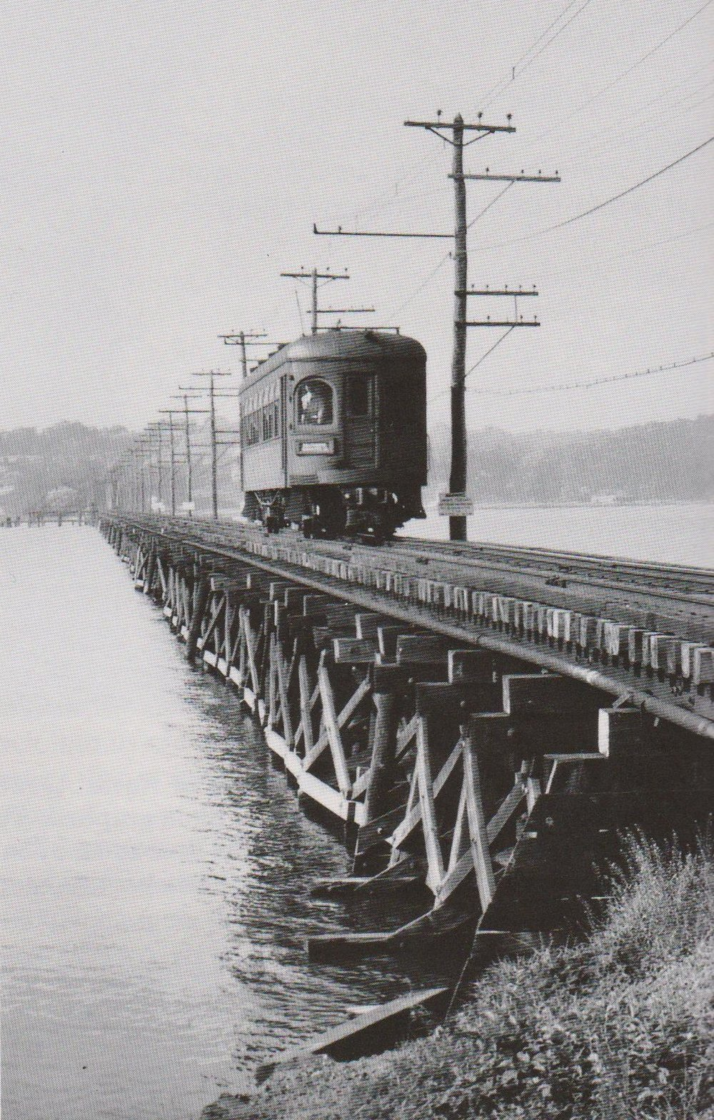 Baltimore & Annapolis Railroad Car traveling over the Severn River Bridge. Annapolis, Maryland Date: Unknown. Source:  Baltimore Light Rail, Then & Now .